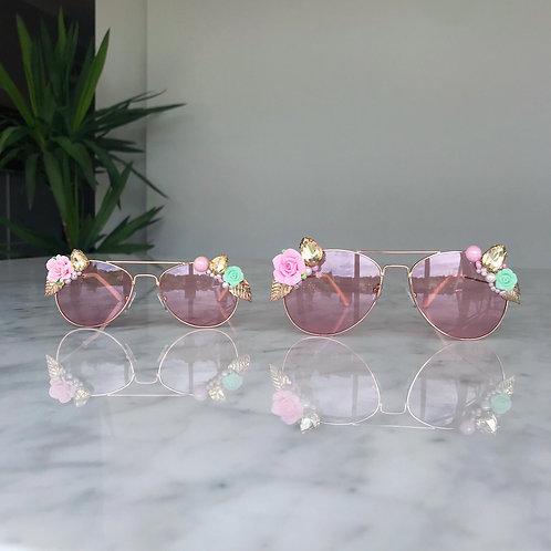 Mini Me Mother & Daughter Twinning Matching Jewelled Flower Sunglasses