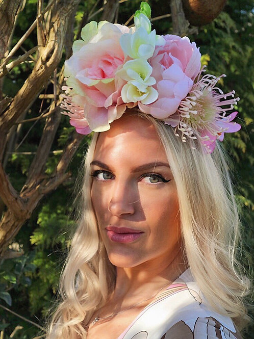 Blush Pink Rose Peony Flower Crown Hair Head Band