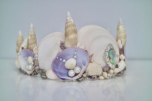Purple Sea Shell Ivory Pearl Mermaid Crown Hair Head Band