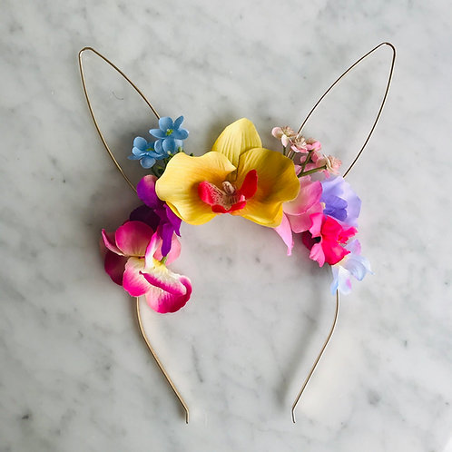 Gold Ears Easter Bunny Flower Crown Hair Head Band