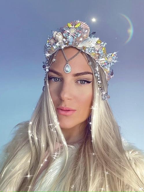🐚✨ Pastel Peach Yellow Silver Sea Shell Mermaid Crown Hair Band Headband