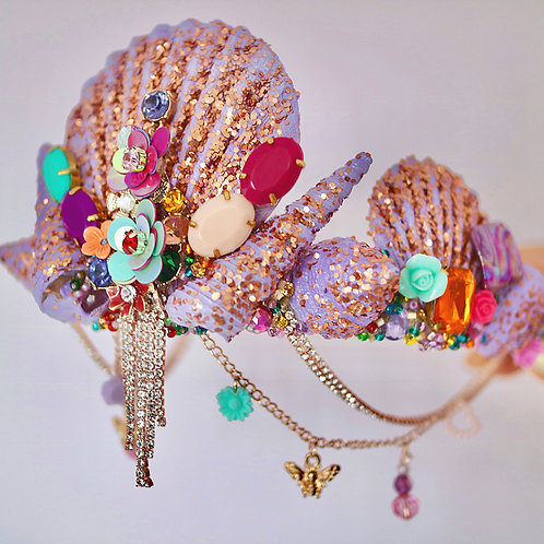 Purple Sea Shell Crown Rose Gold Glitter Mermaid Head Band