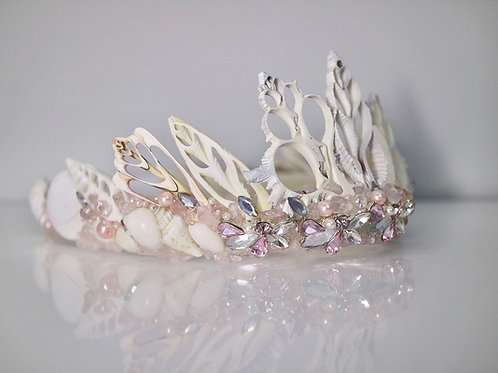 Love Crown Blush Pink Sea Rose Quartz Sea Shell Mermaid Bride Bridal Hair Hea