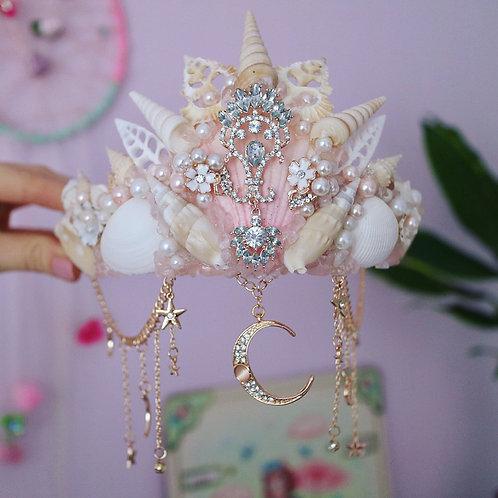 Pink Rose Quartz Moon And Stars Crystal Sea Shell Mermaid Crown Hair Head Band