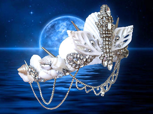 Nirveli White Sea Shell Mermaid Crown Hair Headband Bridal Bride