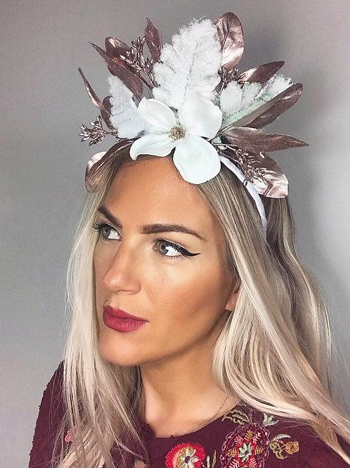 Rose Gold Leaf White Flower Crown Headband Hair Band Winter  Christmas