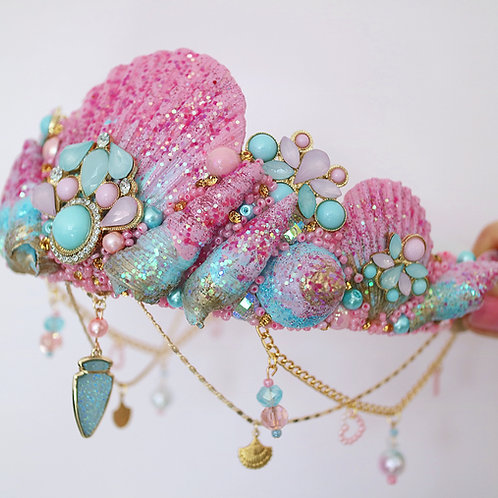 Pink & Blue Glitter Sea Shell Mermaid Crown