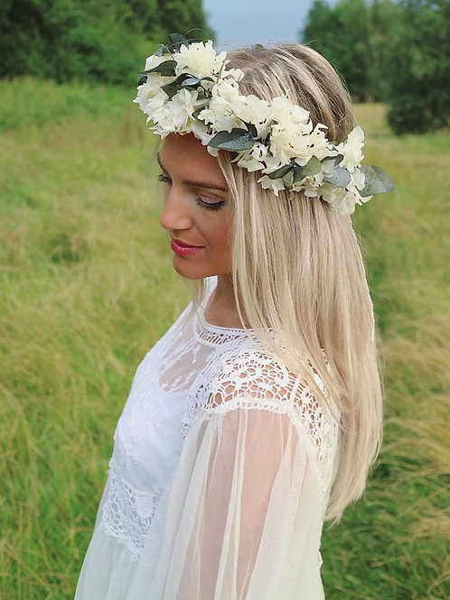 Real Dried Hydrangea & Eucalyptus Leaf Flower Crown Head Band
