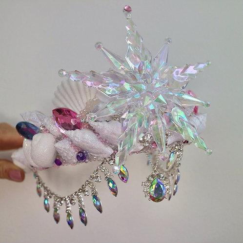Snowflake White Glitter Sea Shell Mermaid Crown Hair Head Band