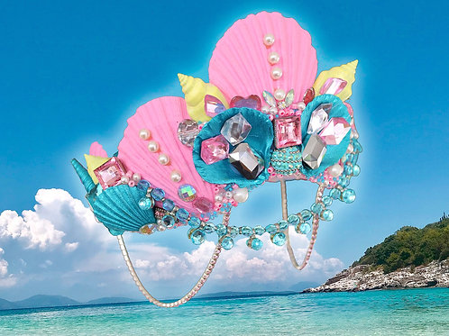 Sweetie Pie Blue Pink & Yellow Sea Shell Mermaid Crown Hair Head Band
