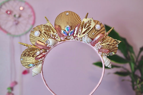 Pink Gold Crystal Quartz Mermaid Crown Sea Shell Hair Head Alice Band