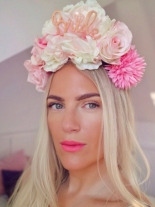 🌸👰🏼 Blush Pink  Peony Rose Gold Bride To Be Flower Crown Headband Hair Band