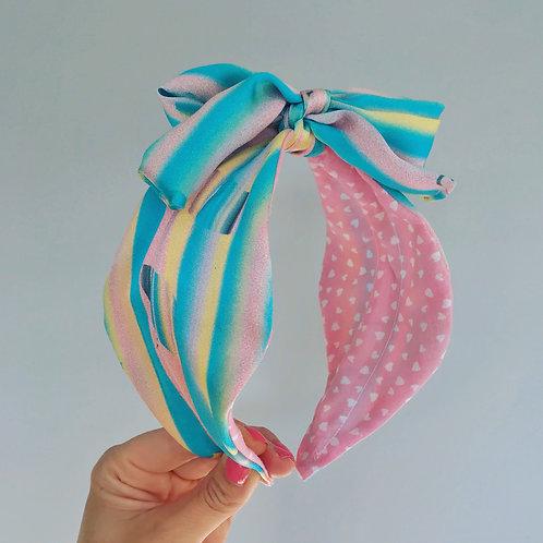 🌟🍭🎀 Candy Stripe Blue Pink & Yellow Hair Head Band Silk Scarf