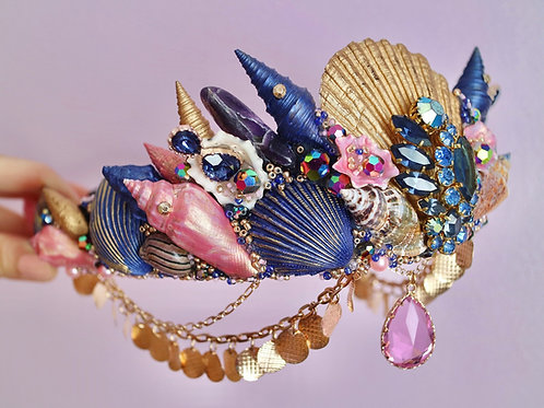 Navy Blue Pink & Gold Amethyst Quartz Mermaid Crown Sea Shell Hair Head Band