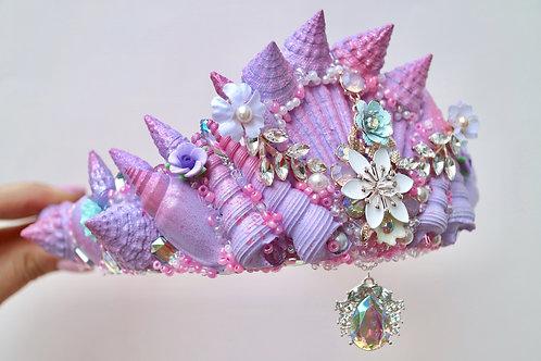 Purple & Pink Sea Shell Mermaid Flower Crown Hair Head Band