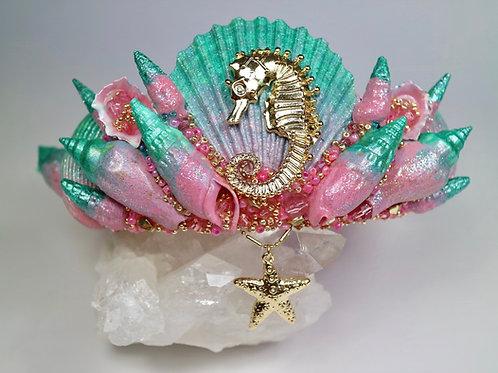 Pink & Green Seahorse Mermaid Crown Sea Shell Hair Head Band