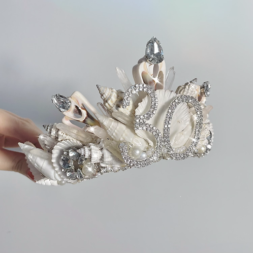 Birthday Ivory White Pearl Diamond Quartz Sea Shell Mermaid Crown Hair Band