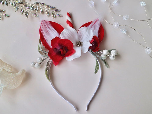 Red White Unicorn Headband Flower Crown Hair Band Mistletoe Christmas Xmas Candy