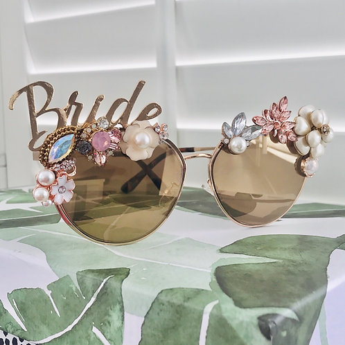 BRIDE To Be Sunglasses Rose Gold Diamond Jewelled Flower Crystal Rhinestone