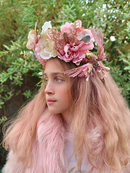 Whimsical Pink Gold Kingfisher Bird Butterfly Flower Crown Headband Hair Band Ro
