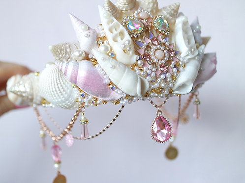 Pink Crystal Sea Shell Mermaid Crown Hair Head Band