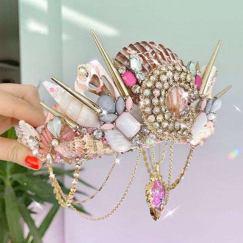 🌜Moon Shine Pastel Pink Crystal Sea Shell Mermaid Crown Hair Band Headband