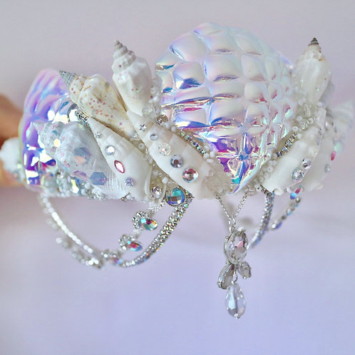 Aurora Sea Shell Mermaid Crown Silver Crystal Hair Head Band