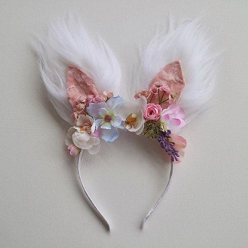 White Fluffy Easter Bunny Ears Flower Crown