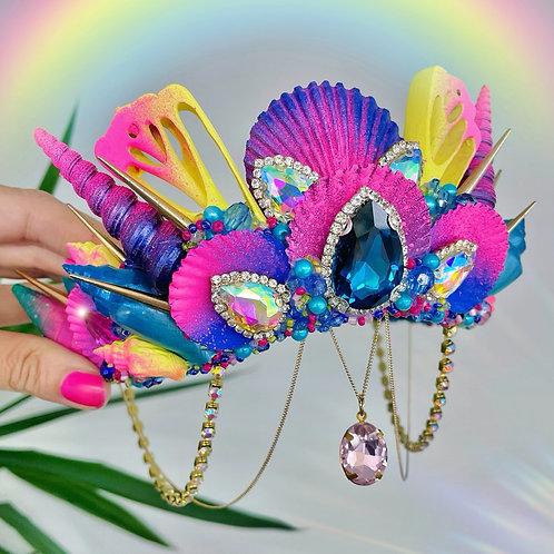 Octavia Navy Pink Yellow & Turquoise Sea Shell Mermaid Crown Hair Headband