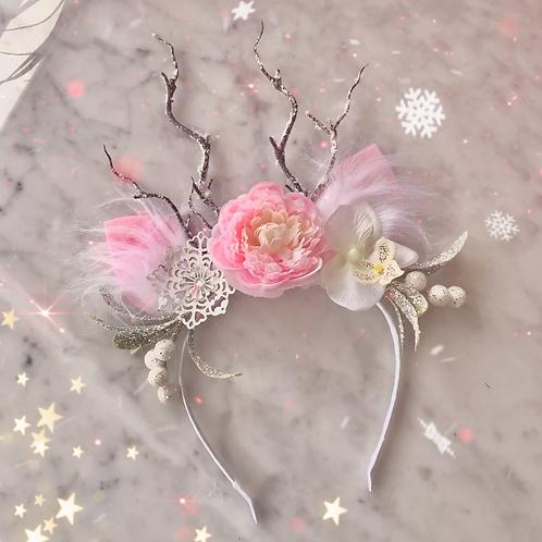 Pink Flower White Snowflake Reindeer Ears Christmas Hair Band Headband Xmas