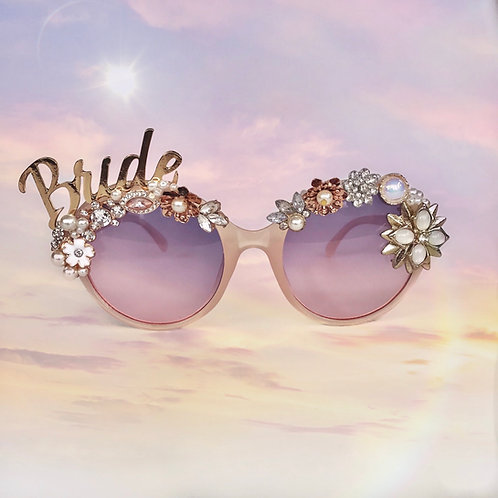🌟 BRIDE 🌟 Blush Pink Round Rose Gold Sunglasses Diamond Flower Crystal Sunnies