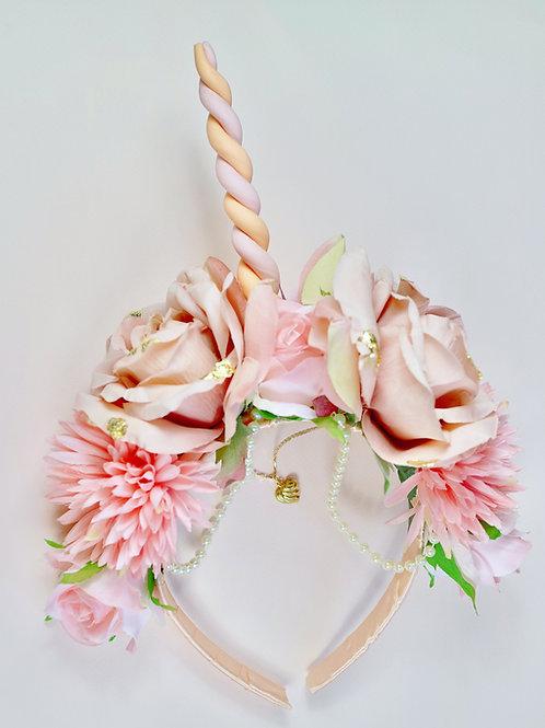 Peach Pink Unicorn Gold Flower Crown Hair Head Band