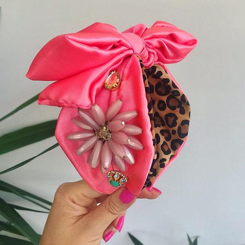 💞🎀🌸 Shocking Pink Diamond Jewel Headband Hair Band Scarf Bow