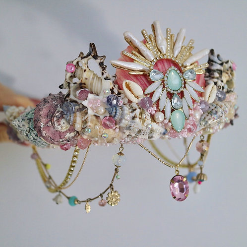 Pink Blue & Turquoise Crystal Mother Of Pearl Sea Shell Mermaid Crown Hair Head