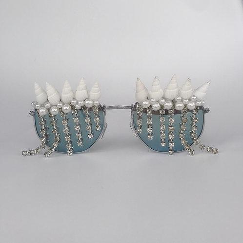 Draping Diamond & Pearl Sea Shell Silver Mirrored Sunglasses