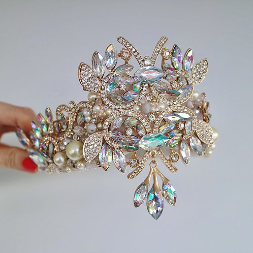Joyce Gold Crystal Crown AB Diamonds & Pearl Headband Tiara