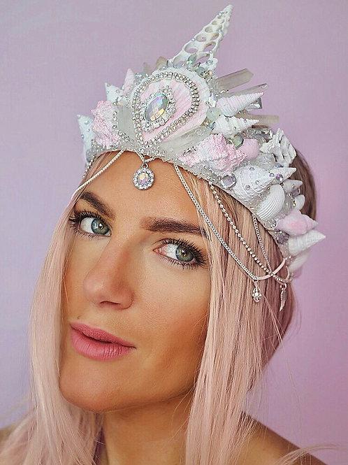 White & Soft Pink Diamond Quartz Crystal Mermaid Crown Hair Head Band