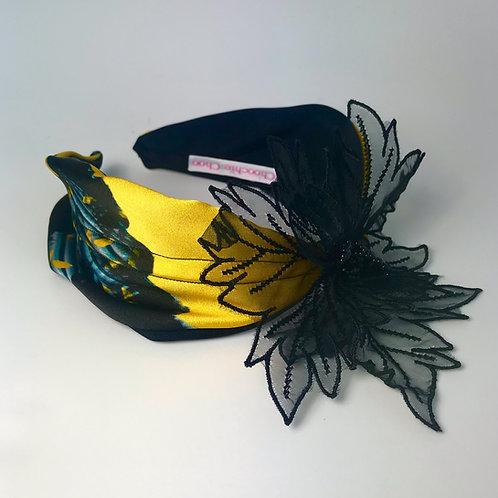Yellow Navy & Black Flower Silk Headband Hair Band