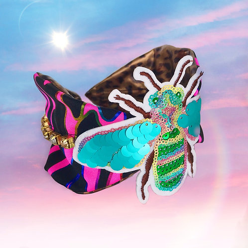 Bee Happy Neon Pink Gold Diamond Jewel Headband Hair Band