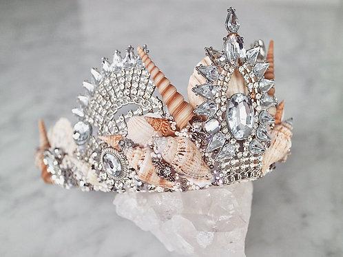Arna Silver Crystal Natural Sea Shell Mermaid Crown Hair Head Band