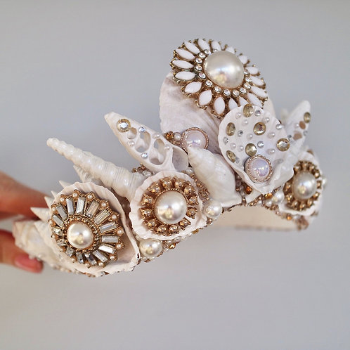 White & Gold Sea Shell Mermaid Crown Hair Head Band