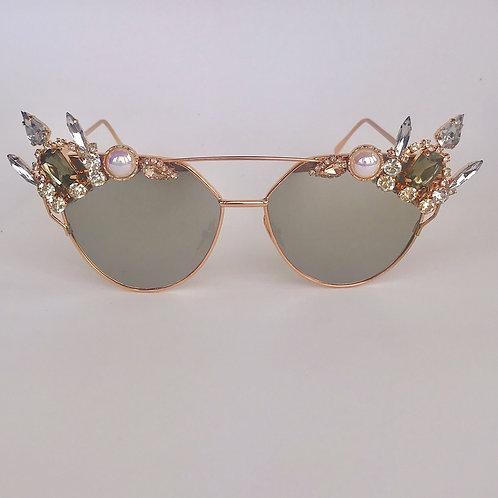 Gold & Smokey Grey Mirrored Jewelled Diamond Sunglasses