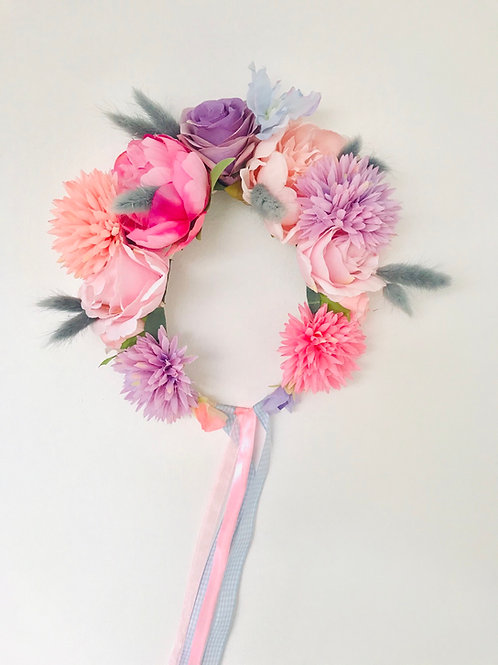 Spring Rose Pampas Grass Pom Pom Flower Crown Hair Band Headband