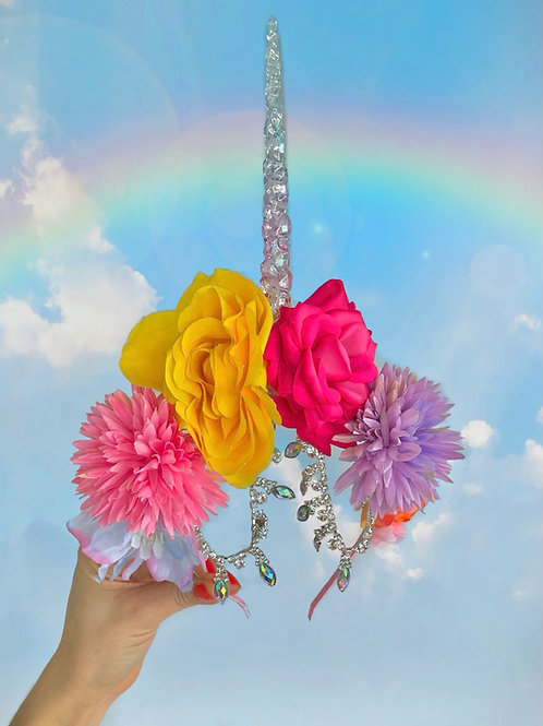 Magical Rainbow Unicorn Flower Crown Diamond Hair Band Headband