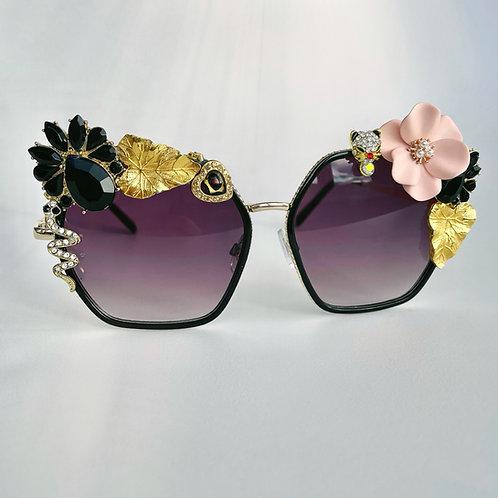 🐍 The Serpent Snake Jewel Diamond Flower Jewelled Sunglasses 70s Black Gold