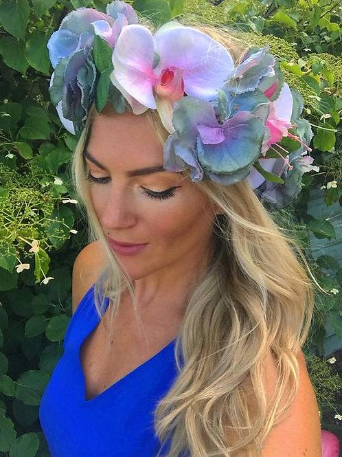 Blue Hydrangea & Pink Orchid Flower CrownHair Band
