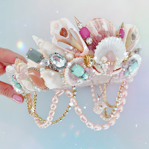 Olivia Pink Rose Quartz Crystal Fresh Water Pearls Sea Shell Mermaid Crown