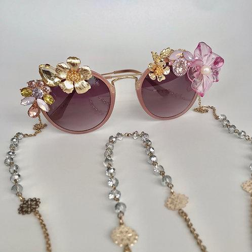 Caipirinha Purple Pink Flower Jewelled Sunglasses Sunnies With Glasses Chain