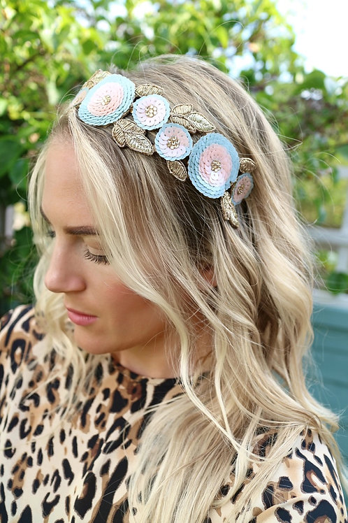 Gold Pink & Blue Flower Jewelled Alice Head Band Fascinator Hair Jewellery Brida