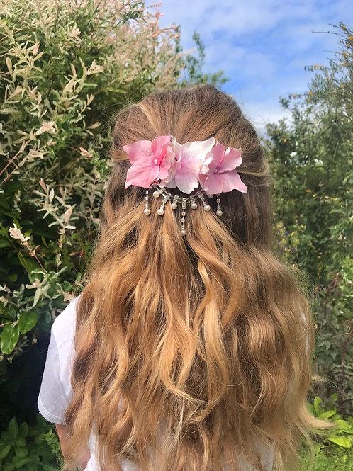 Sweetheart Pink & White Dangling Pearl Diamond Hair Clip